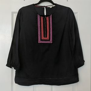 BODEN Boho Embroidered 3/4 Blouse